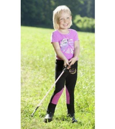 "Kinderreithose ""Little Rider Mini"" schwarz/pink, M (110/116)"
